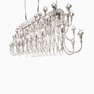 Lámpara de araña Octopus grande de vidrio de borosilicato y acero con 72 puntos de luz de VGnewtrend