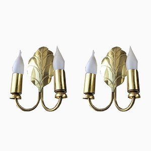Golden Leaf Sconces, 1970s, Set of 2