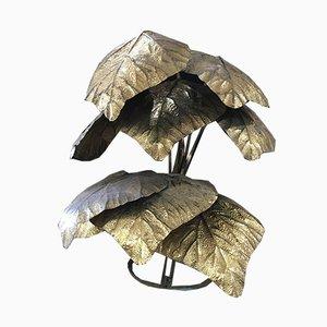 Lámpara de pie en forma de hojas de palmera de Tommaso Barbi, años 70