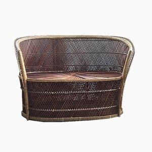 Vintage Wicker Bench