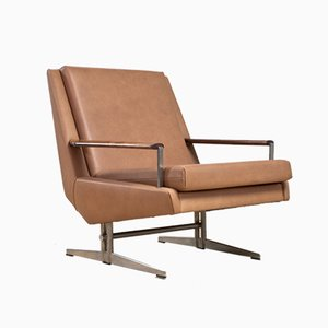 Scandinavian Modern Leather Armchair, 1960s