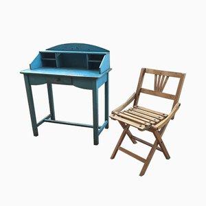 Antiker Kinderschreibtisch & Stuhl