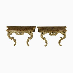 Antike geschnitzte & lackierte Konsolentische, 2er Set