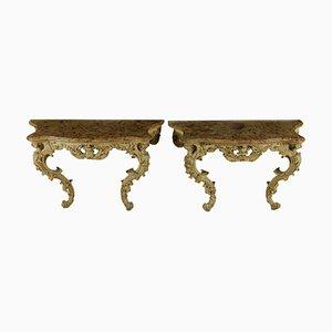 Tables Consoles Antiques Sculptées & Peintes, Set de 2