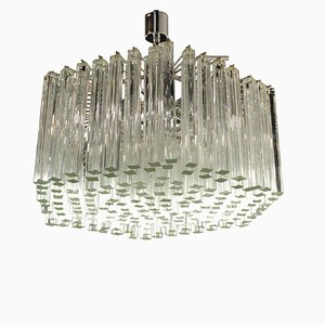 Vintage Italian Metal & Glass Ceiling Lamp, 1960s