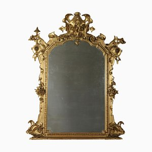Large Italian Carved Gilded Mirror, 1800s