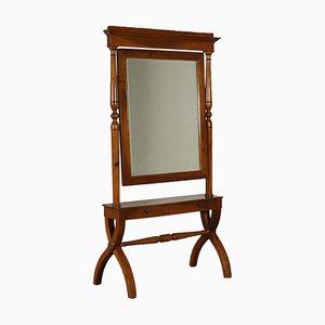 Antique Italian Walnut Cheval Mirror
