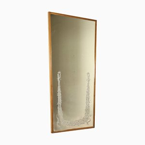 Italian Stained Beech Frame Mirror, 1950s