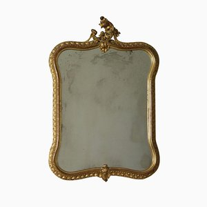 Antique Italian Shaped, Carved & Gilded Mirror