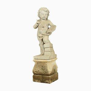 Antique Italian Stone Cherub Garden Statue