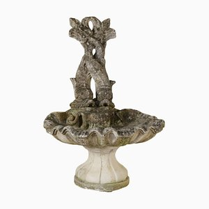 Antique Italian Garden Fountain with Dolphins Sculpture