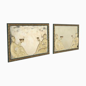 Dekorative Art Deco Spiegel mit Gipsrahmen, 1940er, 2er Set