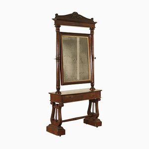 Antique Italian Walnut Cheval Mirror