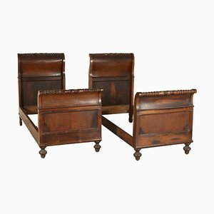 Antique Italian Walnut Single Beds, Set of 2