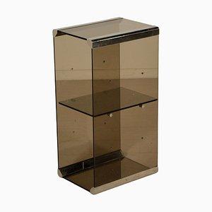 Italian Smoked Glass Side Shelf, 1970s