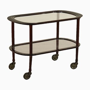 Vintage Italian Stained Ebony Glass Service Cart
