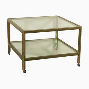 Italian Brass & Glass Coffee Table, 1960s