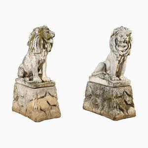 Antique Italian Lion Garden Sculptures, Set of 2
