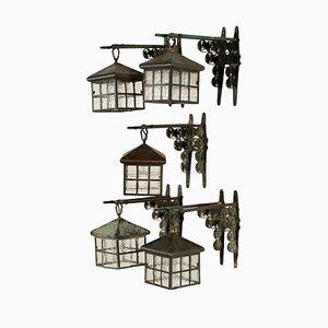 Antique Liberty Brass & Glass Lanterns, Set of 5