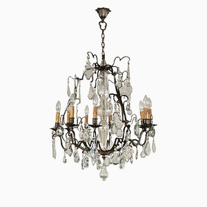 Vintage Bronze & Glass Chandelier