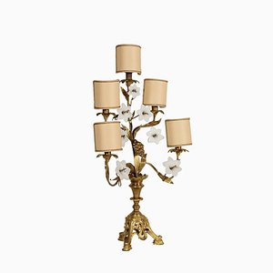 Antique Gilded Bronze & Glass Table Lamp