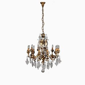Chandelier with Six Arms & Crystal Pendants, 1800s