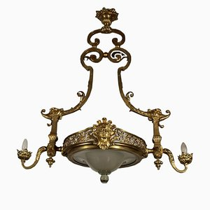 Early 20th Century Bronze & Glass Chandelier