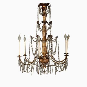 Iron, Wood & Glass Chandelier, 1700s