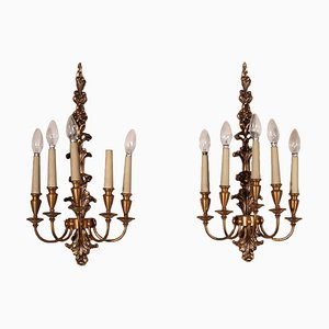 Italian 4-Light Wall Lights, 1900s, Set of 2