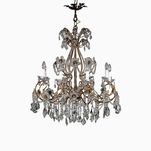 Italian Gilded Iron & Crystal 16-Arm Chandelier, 1800s