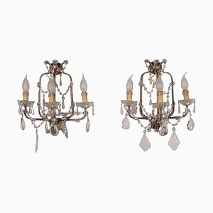 Italian Glass & Crystal Sconces, 1900s, Set of 2
