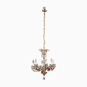 Italian Sheet Metal & Glass 6-Arm Chandelier, 1900s