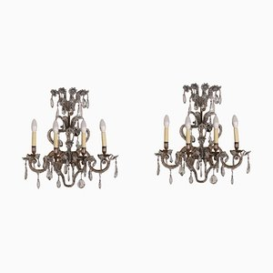 Antique Italian Gilded Iron & Glass 4-Arm Sconces, Set of 2