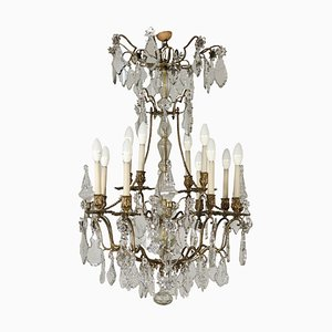 Antique Italian Bronze & Crystal Chandelier with 16 Arms