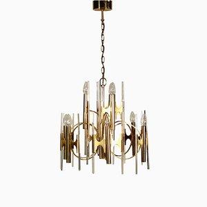 Vintage Italian Brass & Glass Ceiling Lamp, 1960s