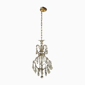 Italian Glass & Brass Chandelier, 1900s