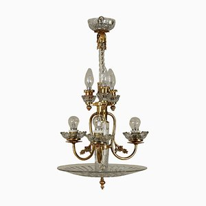Mid-Century Italian Brass & Crystal Chandelier