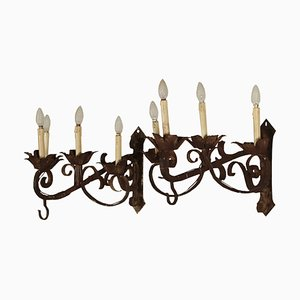 Antique Italian Wrought Iron Wall Lights, Set of 2