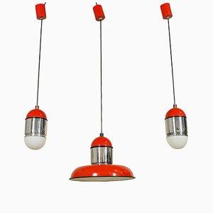 Lámparas de techo Sisten italianas de Celada Architetti Associati para Fontana Arte, años 80. Juego de 3