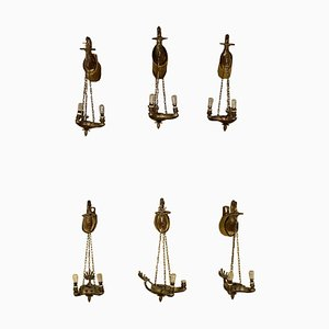 Antique Italian Bronze Sconces, Set of 6