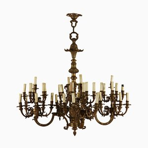 Antique Italian Treated Bronze Chandelier