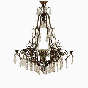 Antique Italian Bronze Chandelier with Crystal Pendants