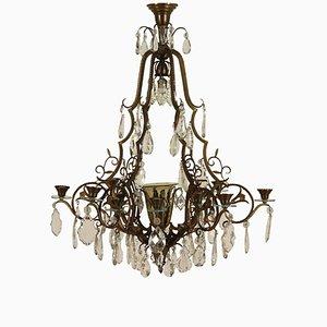 Lámpara de araña italiana antigua de bronce con colgantes de cristal