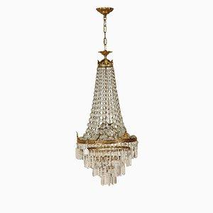 Lampadario antico in stile Impero in vetro