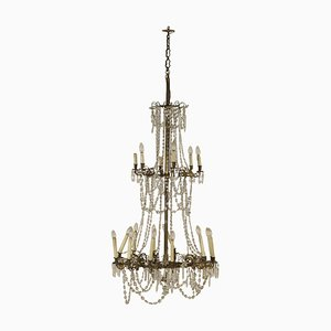 Large 19th Century Crystal & Brass Ceiling Lamp with Glass Drops