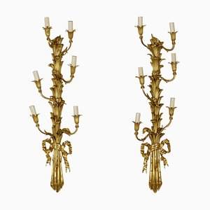 Napoleon III Bronze & Gilded Wood Sconces, 1800s, Set of 2