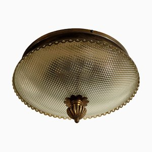 Brass & Milled Glass Ceiling Lamp, 1950s
