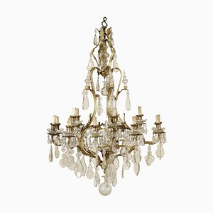 Large Early 20th Century Gilded Bronze & Crystal Chandelier