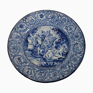 Antique Italian Blue Majolica Plate