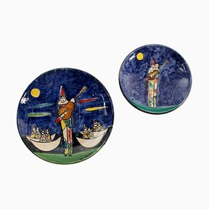 Milanese Polychrome Decorated Ceramic Plate and Underplate Set, 1900s